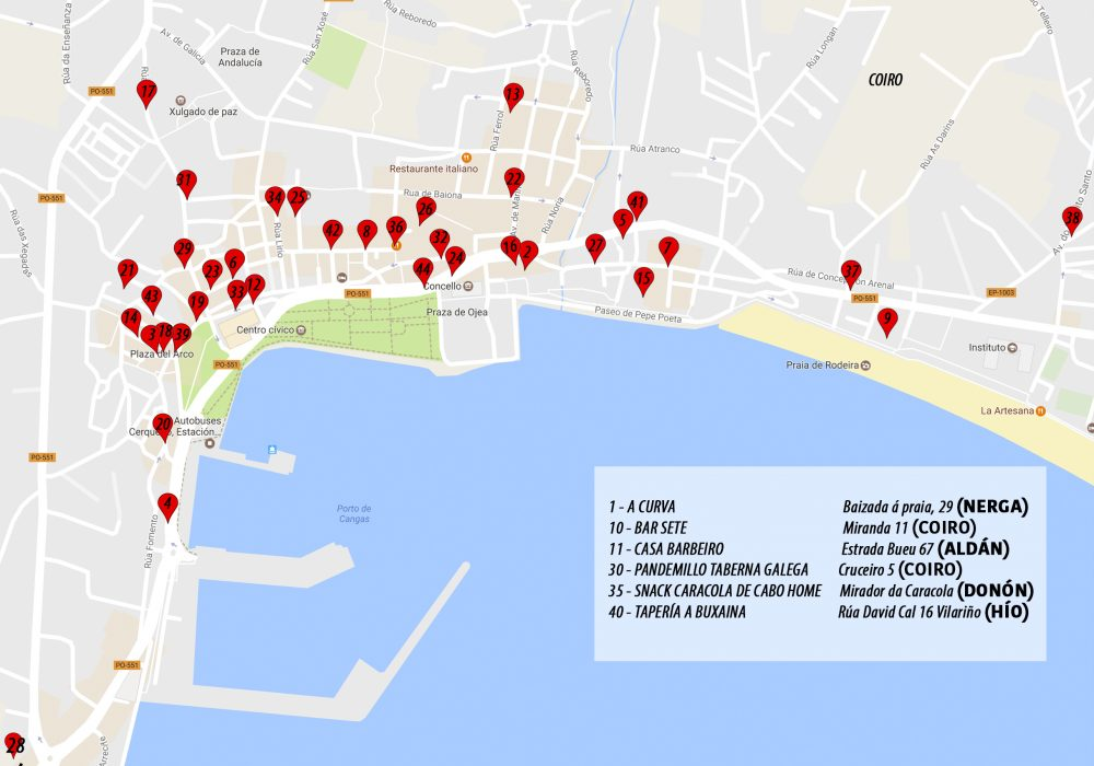 Mapa cos locais participantes